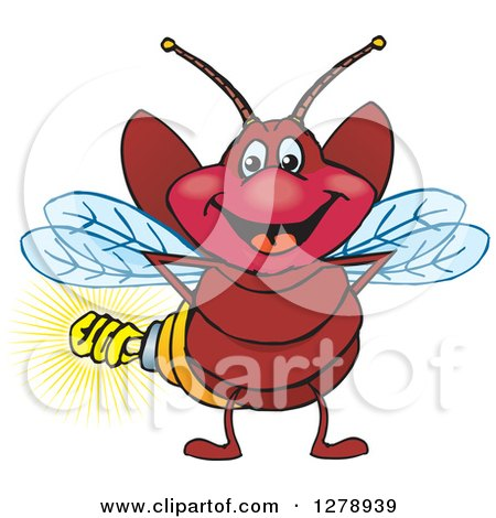 Clipart of a Happy Firefly with a Light Bulb Butt - Royalty Free Vector Illustration by Dennis Holmes Designs