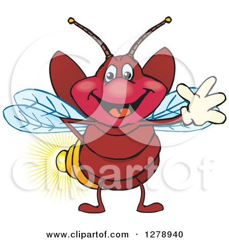 Clipart of a Happy Firefly Waving - Royalty Free Vector Illustration by Dennis Holmes Designs