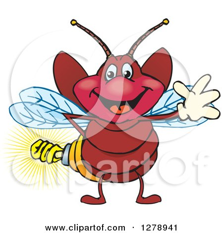 Clipart of a Happy Waving Firefly with a Light Bulb Butt - Royalty Free Vector Illustration by Dennis Holmes Designs
