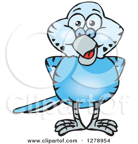 Clipart of a Happy Blue Budgie Parakeet Bird - Royalty Free Vector Illustration by Dennis Holmes Designs