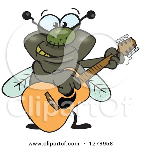 Clipart of a Happy House Fly Playing an Acoustic Guitar - Royalty Free Vector Illustration by Dennis Holmes Designs