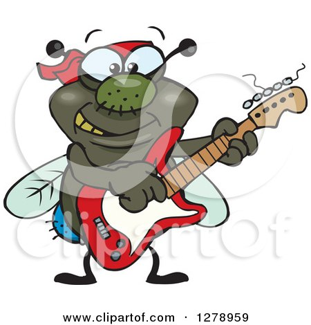 Clipart of a Happy House Fly Playing an Electric Guitar - Royalty Free Vector Illustration by Dennis Holmes Designs