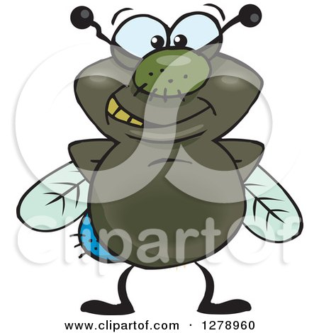 Clipart of a Happy House Fly - Royalty Free Vector Illustration by Dennis Holmes Designs