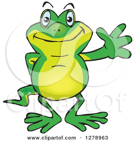 Clipart of a Happy Gecko Waving - Royalty Free Vector Illustration by Dennis Holmes Designs