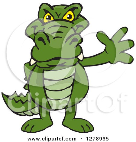 Clipart of a Happy Alligator Waving - Royalty Free Vector Illustration by Dennis Holmes Designs