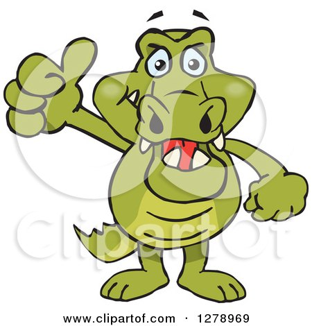 Clipart of a Happy Crocodile Holding a Thumb up - Royalty Free Vector Illustration by Dennis Holmes Designs