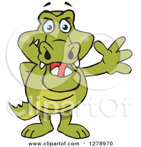 Clipart of a Happy Crocodile Standing and Waving - Royalty Free Vector Illustration by Dennis Holmes Designs