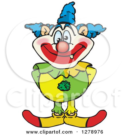 Clipart Of A Happy Clown Standing Royalty Free Vector Illustration