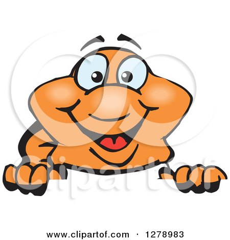 Clipart of a Happy Clownfish Peeking over a Sign - Royalty Free Vector Illustration by Dennis Holmes Designs