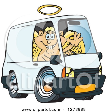 Clipart of a Blond White Male Cupid Waving and Driving a Delivery Van - Royalty Free Vector Illustration by Dennis Holmes Designs