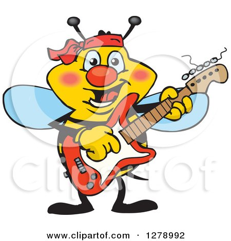 Clipart of a Happy Bee Playing an Electric Guitar - Royalty Free Vector Illustration by Dennis Holmes Designs
