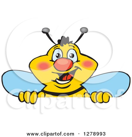 Clipart of a Happy Bee Peeking and Smiling over a Sign - Royalty Free Vector Illustration by Dennis Holmes Designs