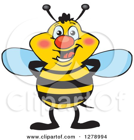 Clipart of a Happy Bee Standing - Royalty Free Vector Illustration by Dennis Holmes Designs