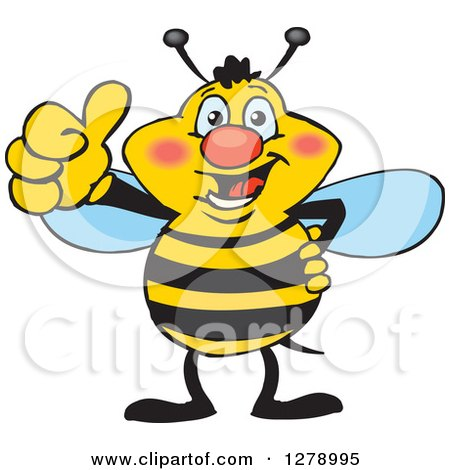Clipart of a Happy Bee Giving a Thumb up - Royalty Free Vector Illustration by Dennis Holmes Designs