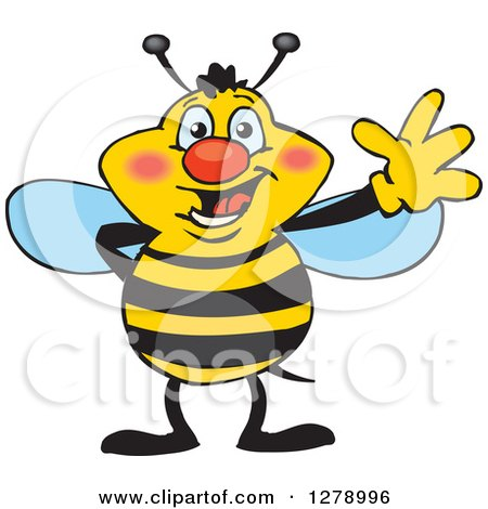 Clipart of a Friendly Waving Bee - Royalty Free Vector Illustration by Dennis Holmes Designs