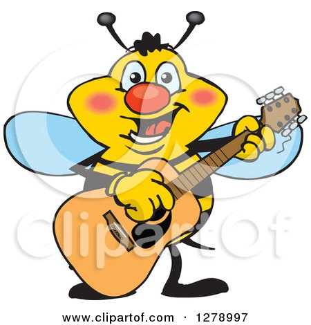 Clipart of a Happy Bee Playing an Acoustic Guitar - Royalty Free Vector Illustration by Dennis Holmes Designs