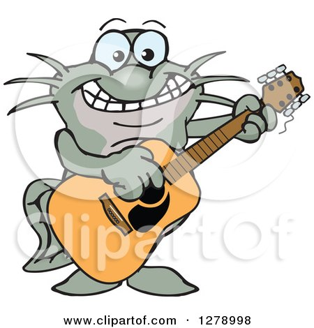 Clipart of a Happy Black Catfish Playing an Acoustic Guitar - Royalty Free Vector Illustration by Dennis Holmes Designs