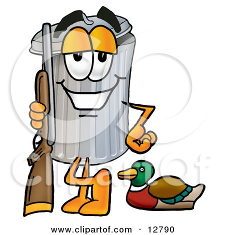Clipart Picture of a Garbage Can Mascot Cartoon Character Duck Hunting, Standing With a Rifle and Duck by Toons4Biz