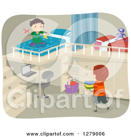 Clipart of Boys Playing in a Bedroom with a Desk and Loft Beds - Royalty Free Vector Illustration by BNP Design Studio