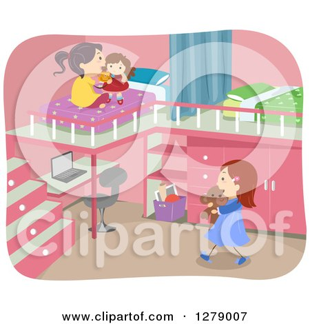 Clipart of Sisters Playing in a Bedroom with a Desk and Loft Beds - Royalty Free Vector Illustration by BNP Design Studio
