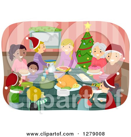 Clipart of Happy Families Coming Together to Celebrate a Christmas Feast - Royalty Free Vector Illustration by BNP Design Studio