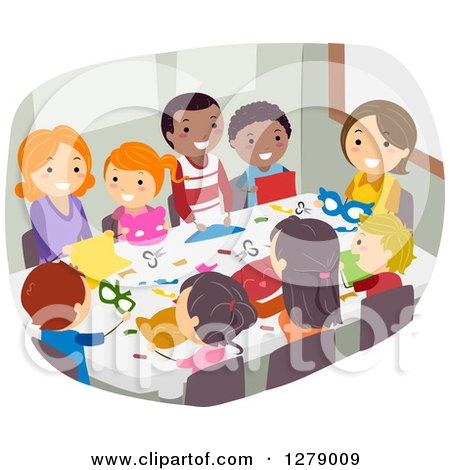 Clipart of Happy Children and Parents or Teachers Doing Paper Crafts - Royalty Free Vector Illustration by BNP Design Studio