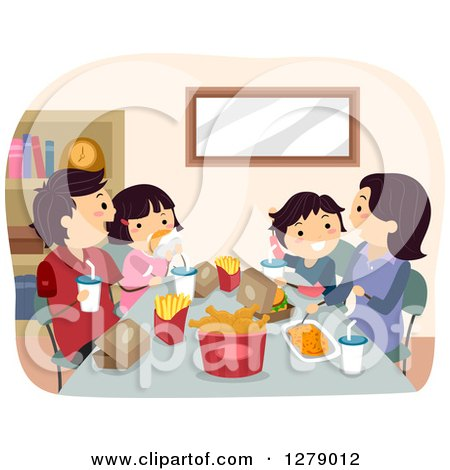 Clipart of a Happy Asian Family Eating a Fast Food Dinner - Royalty Free Vector Illustration by BNP Design Studio