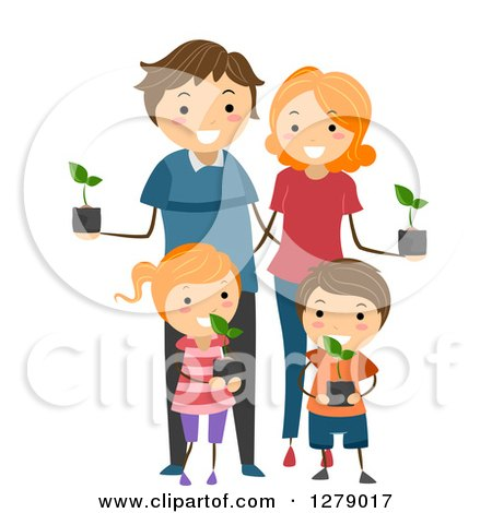 Clipart of a Happy Caucasian Family Holding Seedling Plants - Royalty Free Vector Illustration by BNP Design Studio
