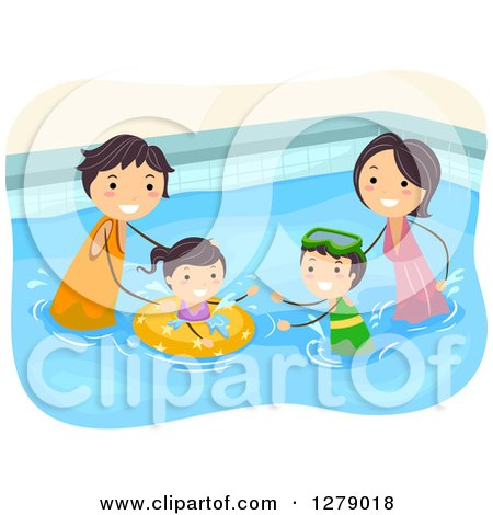 Clipart of a Happy Asian Family Plaing in a Swimming Pool - Royalty Free Vector Illustration by BNP Design Studio