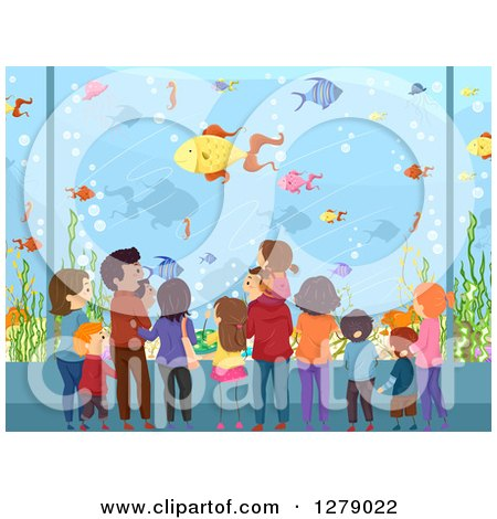 Clipart of a Rear View of Families Watching Fish at an Aquarium - Royalty Free Vector Illustration by BNP Design Studio
