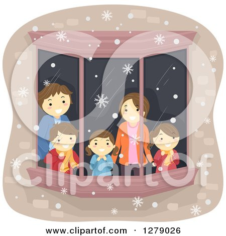 Clipart of a Happy Caucasian Family Watching Snow Through a Window - Royalty Free Vector Illustration by BNP Design Studio