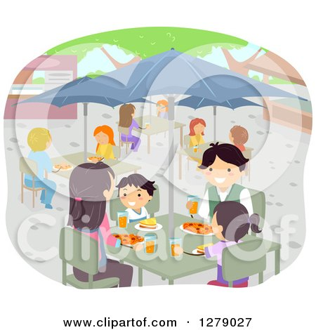 Clipart of a Happy Asian Family Eating at an Outdoor Restaurant - Royalty Free Vector Illustration by BNP Design Studio