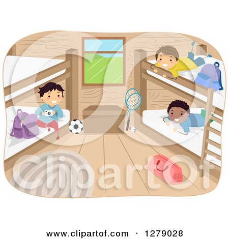 Clipart of Happy Boys Hanging out in a Camp Cabin - Royalty Free Vector Illustration by BNP Design Studio