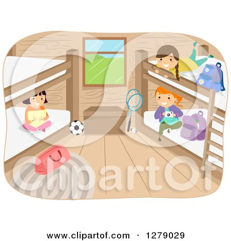 Clipart of Happy Girls Hanging out in a Camp Cabin - Royalty Free Vector Illustration by BNP Design Studio