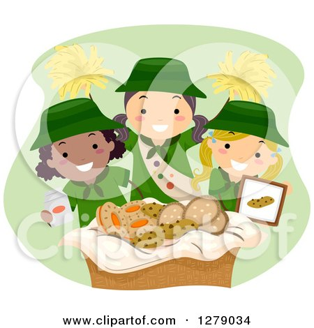Clipart of Happy Scout Girls Selling Cookies and Cheering - Royalty Free Vector Illustration by BNP Design Studio