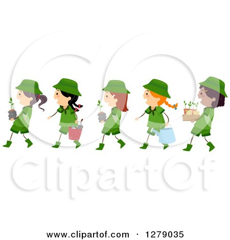 Clipart of a Line of Happy Scout Girls Carrying Plants and Tools - Royalty Free Vector Illustration by BNP Design Studio