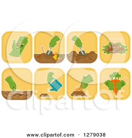 Clipart of Square Gardener Icons - Royalty Free Vector Illustration by BNP Design Studio
