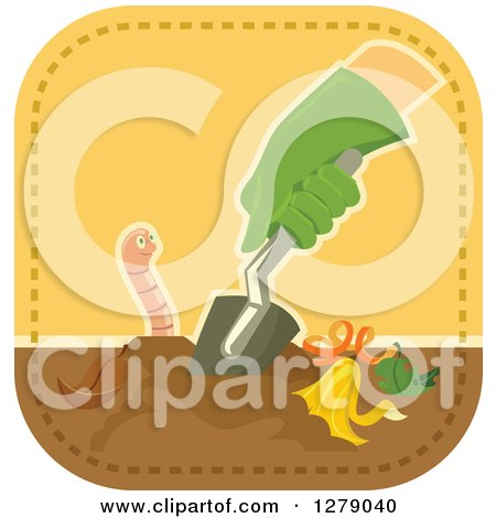 Clipart of a Gloved Gardener's Hand Digging in Compost by an Earthworm - Royalty Free Vector Illustration by BNP Design Studio