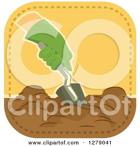 Clipart of a Gloved Gardener's Hand Digging - Royalty Free Vector Illustration by BNP Design Studio