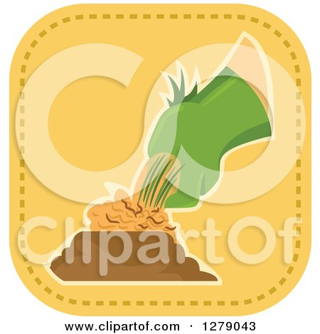 Clipart of a Gloved Gardener's Hand Pulling a Weed or Plant - Royalty Free Vector Illustration by BNP Design Studio
