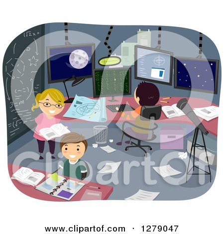 Clipart of Happy Students Working in a Theoretical Research Room - Royalty Free Vector Illustration by BNP Design Studio