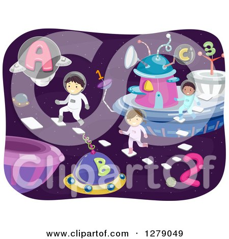 Clipart of Happy Space Children Playing in an Alphabet and Number City - Royalty Free Vector Illustration by BNP Design Studio