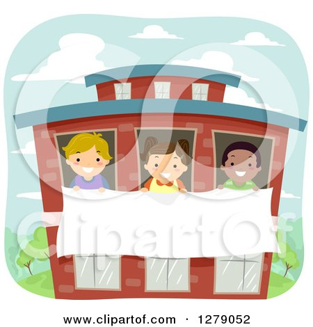 Clipart of Happy Children Holding a Banner Through School Windows - Royalty Free Vector Illustration by BNP Design Studio