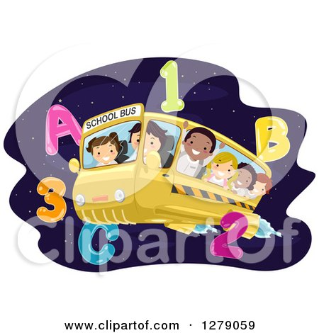 Clipart of Happy Students Flying on a Bus Through Outer Space with Numbers and Letters - Royalty Free Vector Illustration by BNP Design Studio