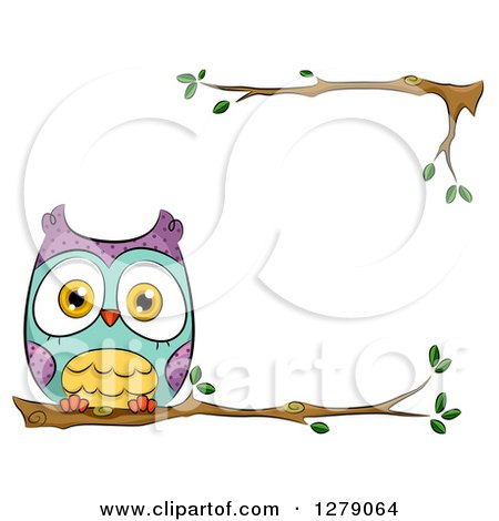 Clipart of a Cute Perched Owl on a Branch Border - Royalty Free Vector Illustration by BNP Design Studio