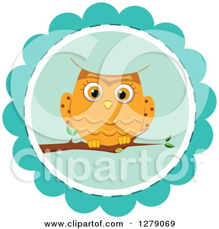 Clipart Of A Cute Orange Owl Perched On A Blue Badge Royalty Free Vector Illustration