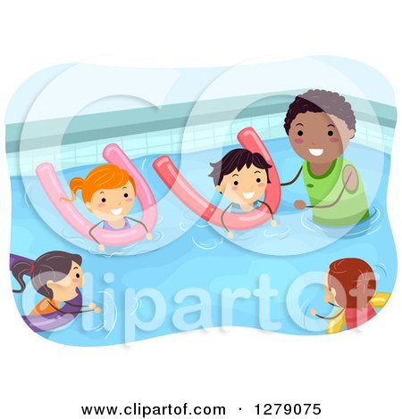 Clipart of a Black Male Coach Teaching Children How to Swim with Pool Noodles - Royalty Free Vector Illustration by BNP Design Studio