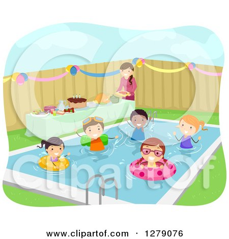 Royalty free rf clipart illustration of a pool maintenance couple cleaning by bnp design for Free clipart swimming pool party
