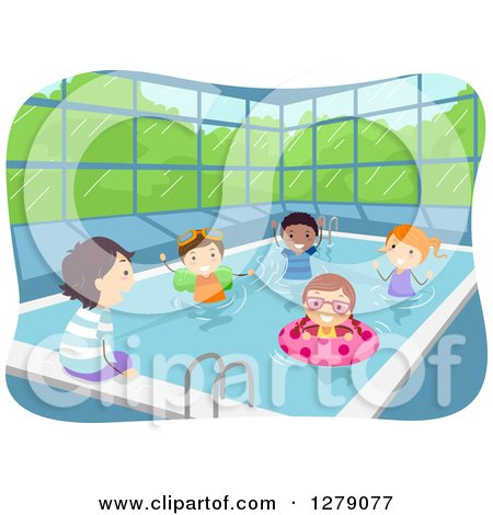 Clipart of Happy Kids Soaking Their Feet and Swimming at an Indoor Pool - Royalty Free Vector Illustration by BNP Design Studio