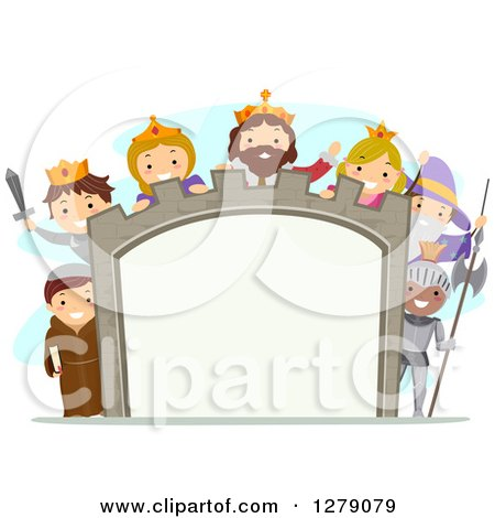 Clipart of Happy Children Wearing Medieval Costumes Around a Castle Sign - Royalty Free Vector Illustration by BNP Design Studio